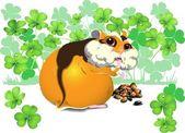 Hebzuchtige funny hamster — Stockvector
