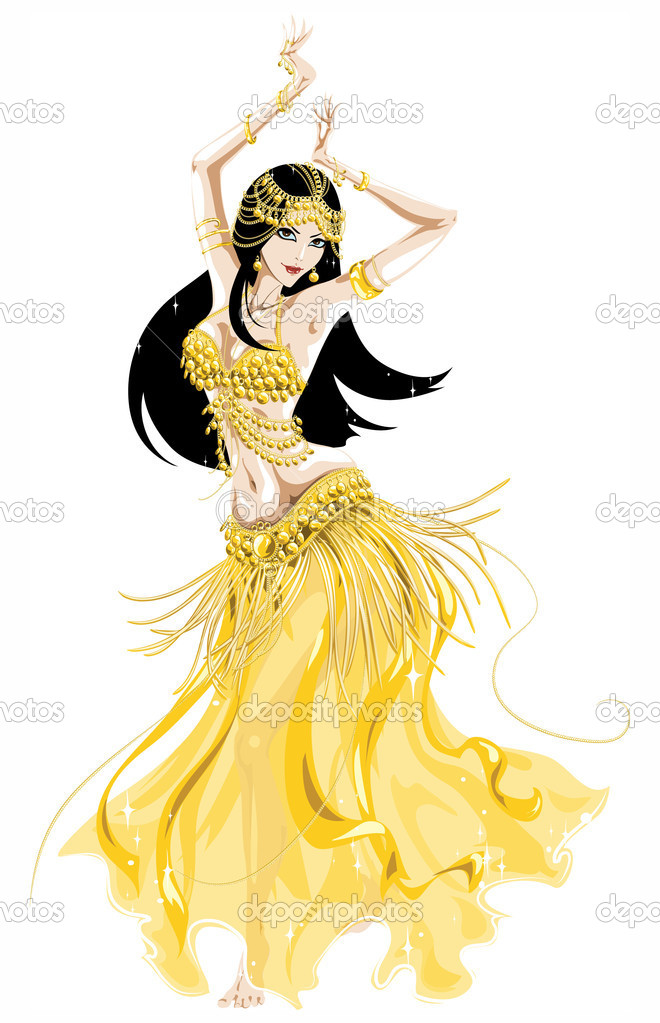 Belly dancer in a yellow golden costume moving  — Stock Vector #9028263