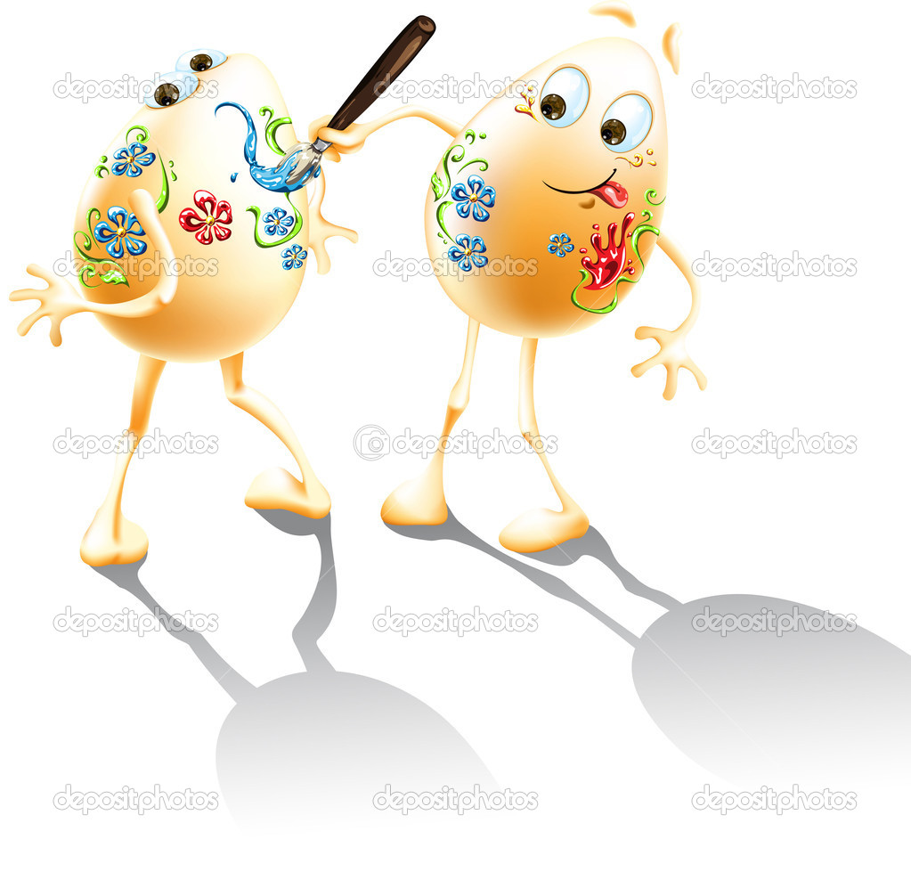 Funny easter eggs painting with a brush on each other — Stock Vector #9058824