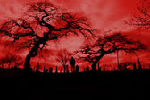 Scary hellfire graveyard pic with scary trees — Stock Photo