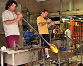 Glass blowers at work — Stock Photo