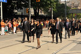 Olivia Chow and Layton family in funeral procession — Stock Photo