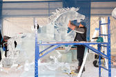 Ice sculptors at work — Stock Photo