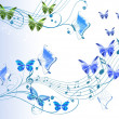 Abstract decor with butterflies and notes - Stockfoto