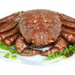 Boiled tasty crab  on a plate - Stockfoto