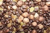 Chicchi di caffè, noci e uvetta texture — Foto Stock