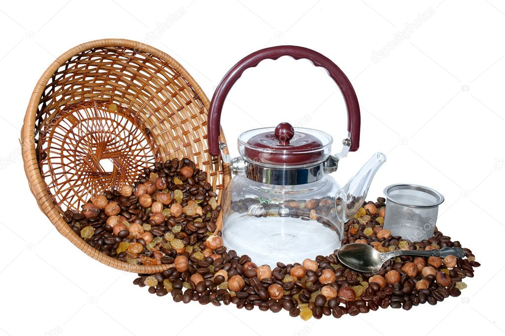Coffeepot and grains isolated on white back. — Stock Photo #10538479