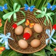 Basket of Easter eggs — Foto Stock