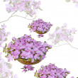 Elegant pretty  card with basket of flowers — Stockfoto
