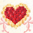 Stock Photo: Abstract heart from beige and claret roses