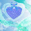Abstract Valentines card with blue flowers heart — ストック写真