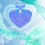 Абстрактный Валентина карты с сердцем голубые цветы — Стоковое фото