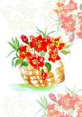 Pintura abstrata flores no cesto — Foto Stock