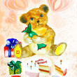 Teddy bear birthday card — Stock Photo