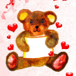 Pretty teddy bear card - Stock Photo