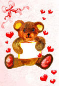 Pretty teddy bear card — Stock Photo