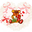 Pretty valentine heart with teddy bear: — Stock Photo
