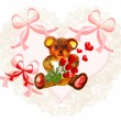 Stock Photo: Pretty valentine heart with teddy bear: