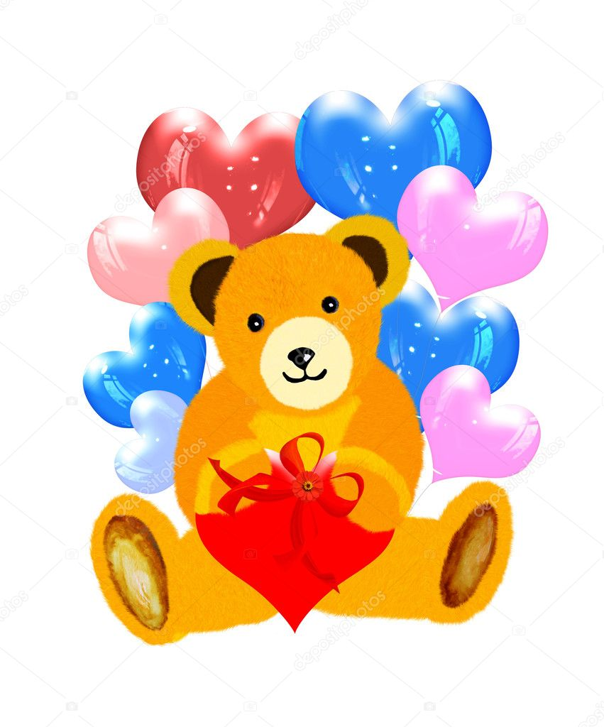 Pretty bear with balloons hearts. Bears  — Stock Photo #8793016
