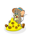 Isolated happy mouse with cheese — Stock Photo