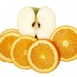 Apple and  orange slices — Stock Photo