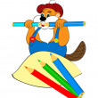 Funny beaver gnaws pencils — Stock Photo #9703742