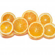 Stock Photo: Isolated oranges slices