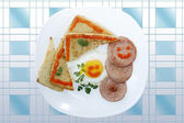 Breakfast from fry toast egg and sausage — Stock Photo
