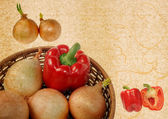 Pimenta e cebola na cesta — Foto Stock