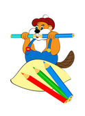 Funny beaver gnaws pencils — Stock Photo