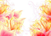 Abstract pink back with fantasy flowers — Stock Photo