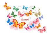 Beautiful painted Easter egg with butterflies — Stock Photo