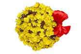 Isolated basket with yellow spring flowers — Stock Photo