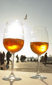 Two glases of Venetian drink and a seagull — Stock Photo