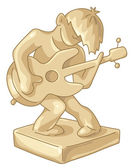 Golden statuette of the guitar player. — Stock Vector