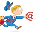 Running Postman With Mail Bag and Message — Stock Vector
