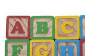 Wooned cubes alphabet — Stock Photo