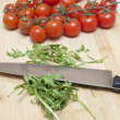 Cutting rucola — Stock Photo