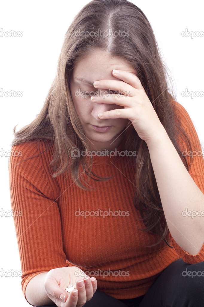 Woman attempting a suicide. Expressing depression.  Stock Photo #10550853