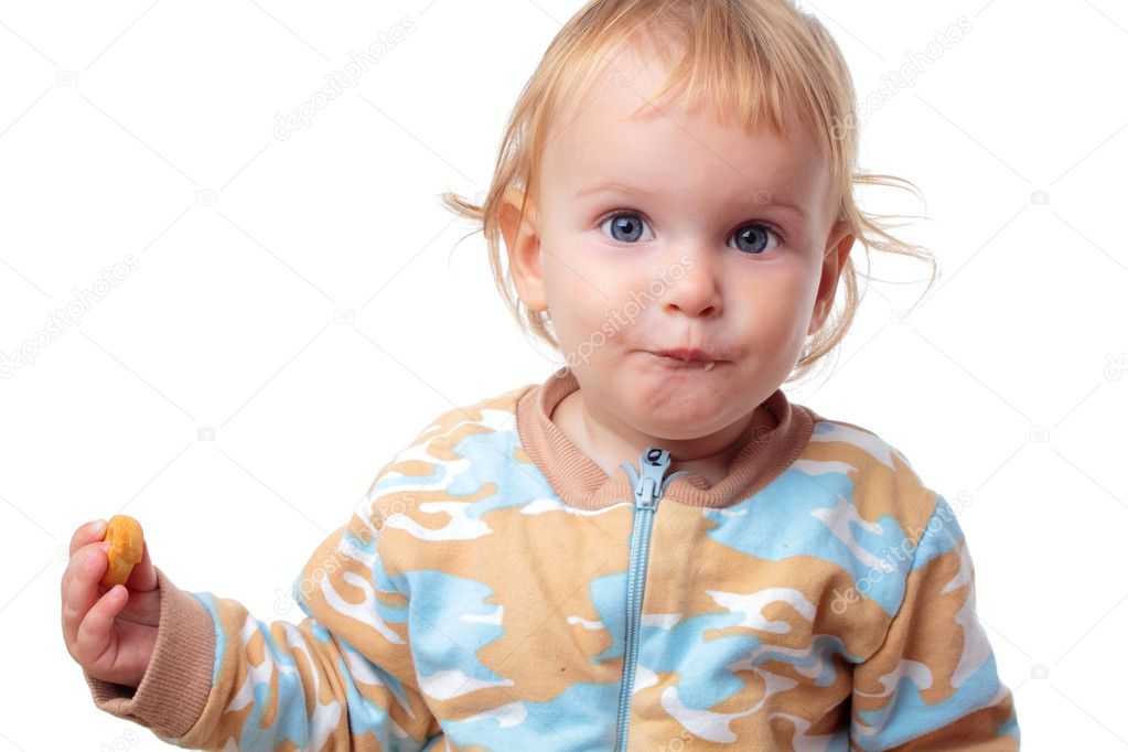 Baby eating a cracker on white background — Stock Photo #7971256