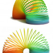 Rainbow colored plastic spiral — Stock Photo #7981296