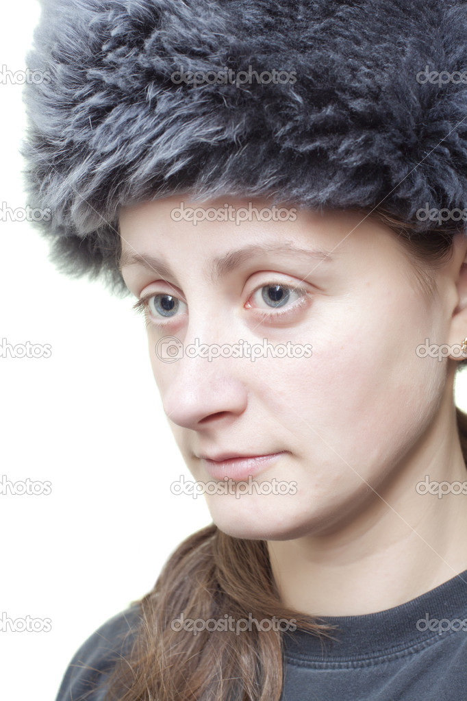 Woman with fluffy hat semi profile  Stock Photo #8973577