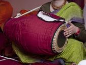Krishna drumer — Stock Photo