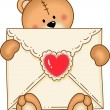 Stock Vector: Bear Secure Envelope Heart