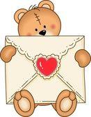 Bear Secure Envelope Heart — Stock Vector