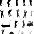 Stock Vector: Golf Silhouettes