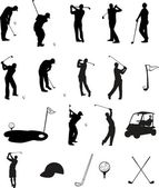 Golf Silhouettes — Vector de stock
