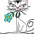 Kitten with Flower — Stock Vector