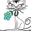 Kitten with Flower — Stock Vector #8879051