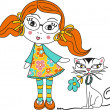Stock Vector: Girl and Cat